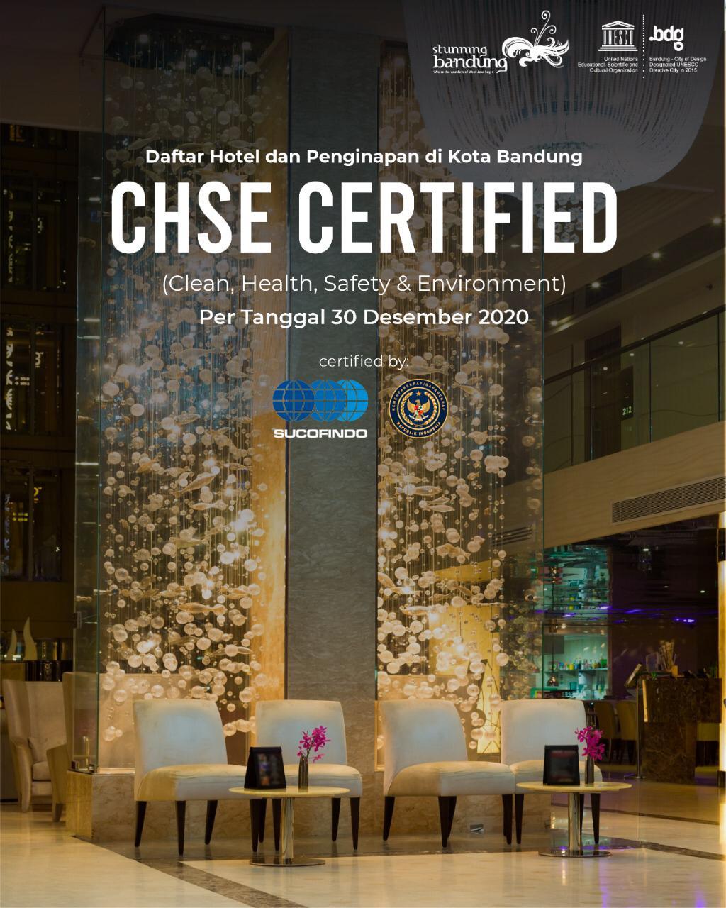 Daftar Hotel dan Penginapan di Kota Bandung yang telah Lolos Uji Sertfikasi CHSE Per 30 Desember 2020